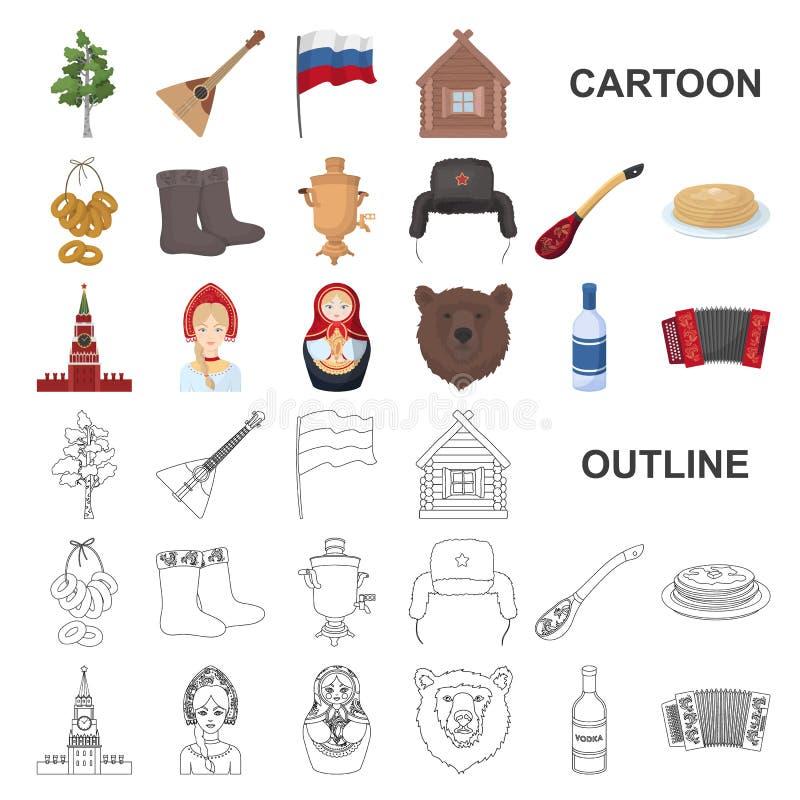 国家俄罗斯,旅行在集合汇集的动画片象的设计 吸引力和特点传染媒介标志股票网 向量例证