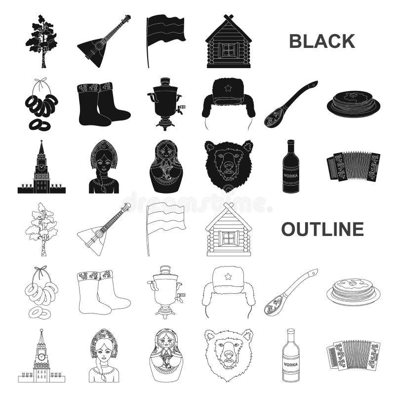 国家俄罗斯,移动在集合汇集的黑象的设计 吸引力和特点传染媒介标志股票网 皇族释放例证