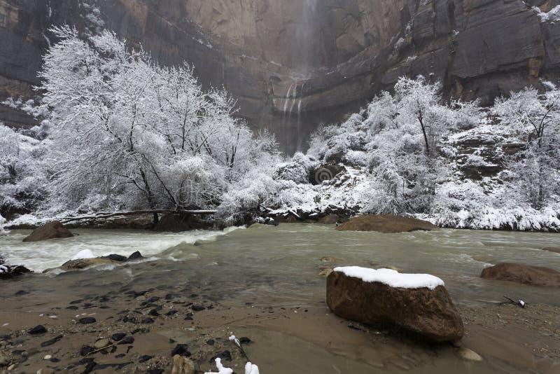 国家公园犹他冬天zion 免版税库存图片