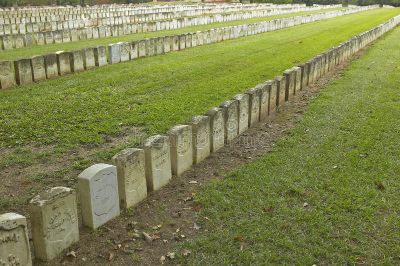 国家公园Andersonville或阵营Sumter,一个全国古迹在乔治亚,同盟者南北战争监狱和公墓站点  免版税图库摄影