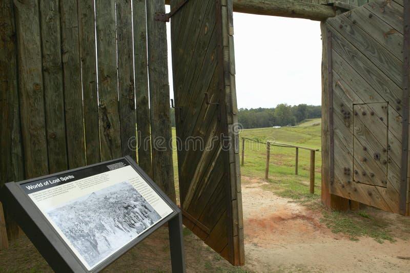 国家公园Andersonville或阵营Sumter,一个全国古迹在乔治亚,同盟者南北战争监狱和公墓站点  免版税库存图片
