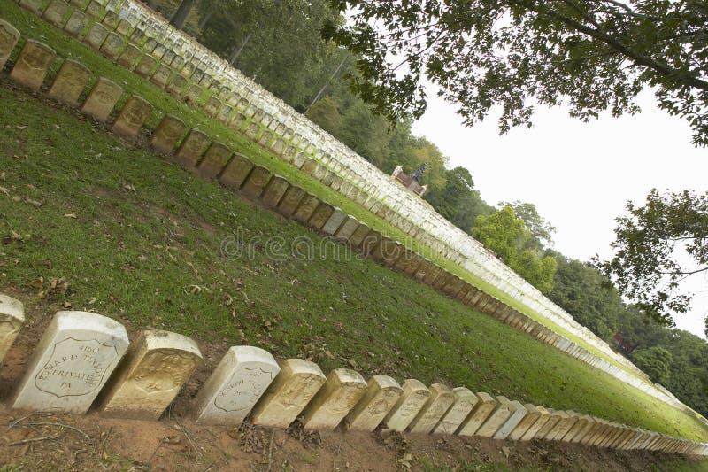 国家公园Andersonville或阵营Sumter,一个全国古迹在乔治亚,同盟者南北战争监狱和公墓站点  免版税库存照片