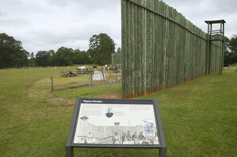 国家公园Andersonville访客地图或同盟者南北战争监狱阵营Sumter,美国人联合pris的站点和公墓 免版税库存照片