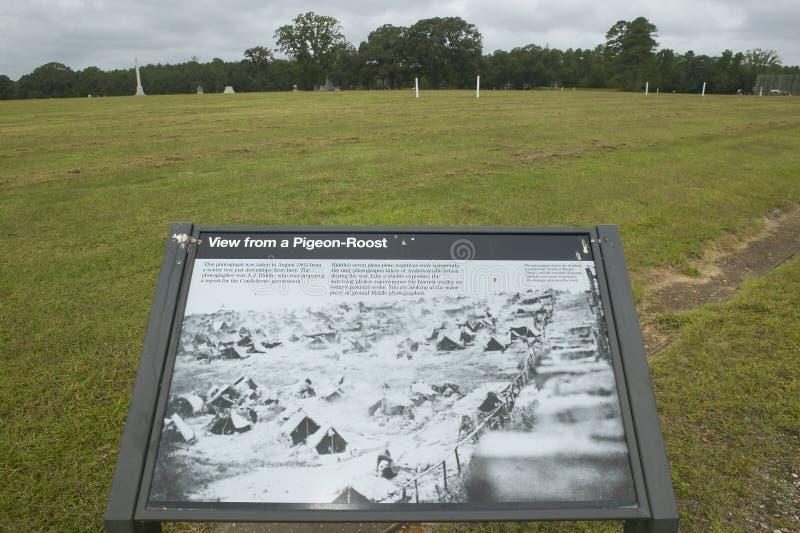 国家公园Andersonville访客地图或同盟者南北战争监狱阵营Sumter,美国人联合pris的站点和公墓 免版税图库摄影