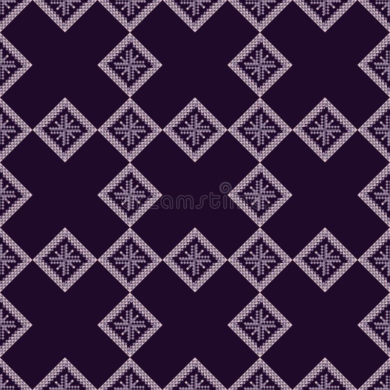 国家几何无缝背景 部落彩色矢量图 菱形和十字,紫色 向量例证