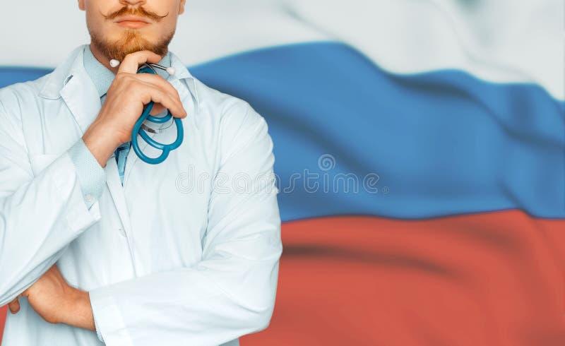 国家医疗保健和医学系统的概念在俄罗斯 无法认出的医生概念 库存图片