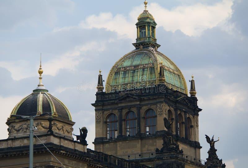 国家博物馆在有玻璃圆顶的布拉格 免版税库存图片