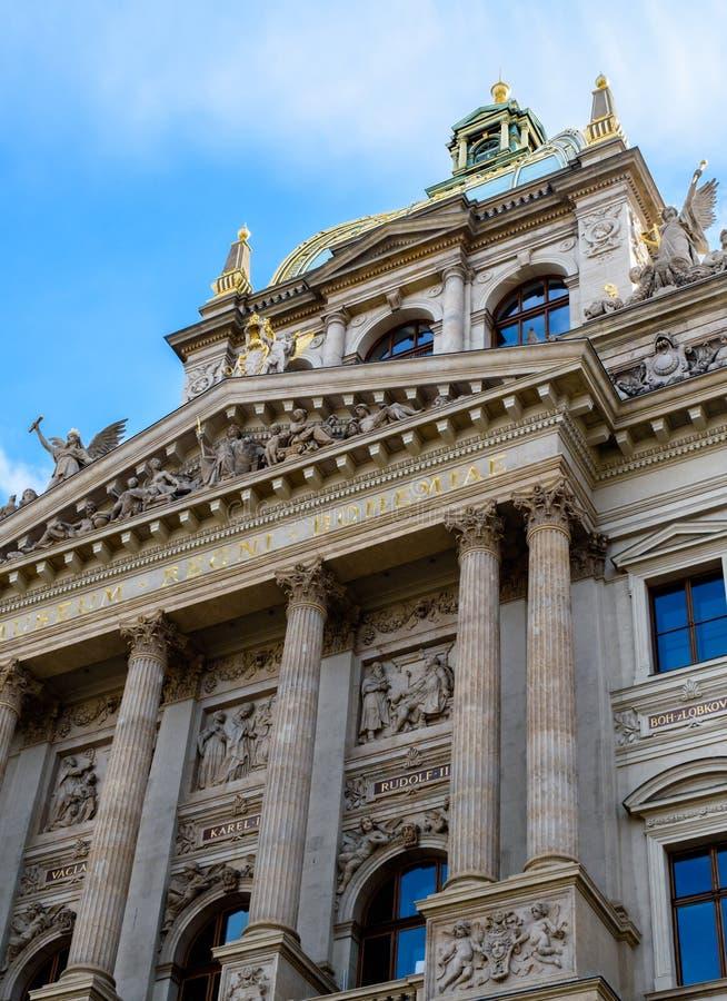 国家博物馆布拉格,捷克Républic的主要门面的专栏和细节 库存图片