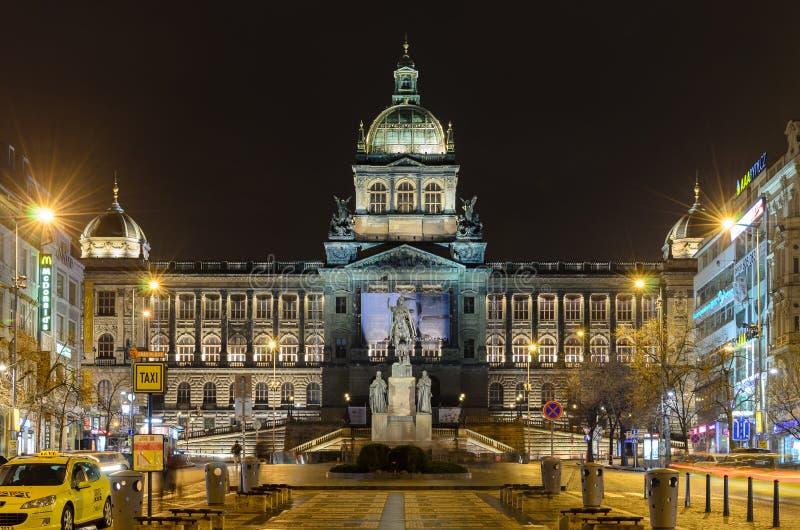 国家博物馆瓦茨拉夫广场(瓦茨拉夫广场) 免版税库存照片