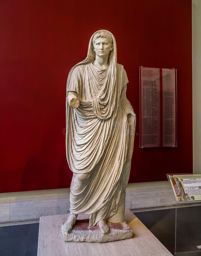国家博物馆-罗马帝国皇帝奥古斯都古老雕象 库存图片