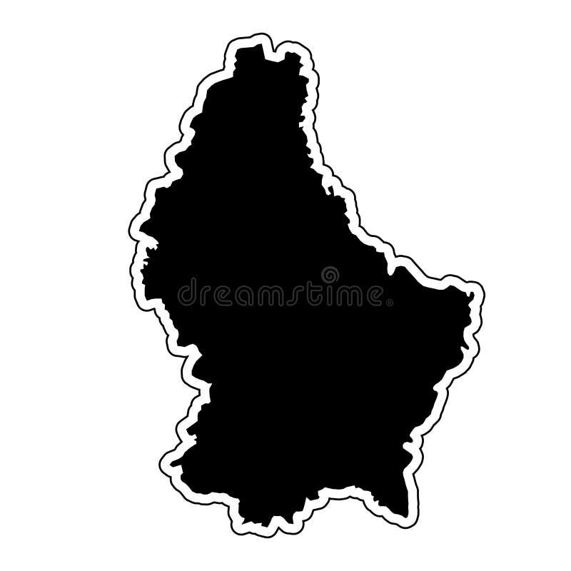 国家卢森堡的黑剪影有等高线的 向量例证