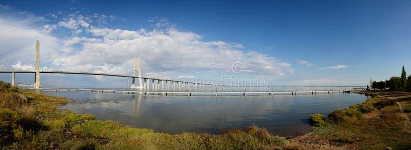 国家在里斯本停放有瓦斯科・达伽马桥梁的宽全景 免版税库存照片