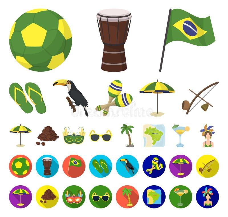 国家巴西动画片,在集合收藏的平的象的设计 旅行和吸引力巴西导航标志储蓄网 库存例证