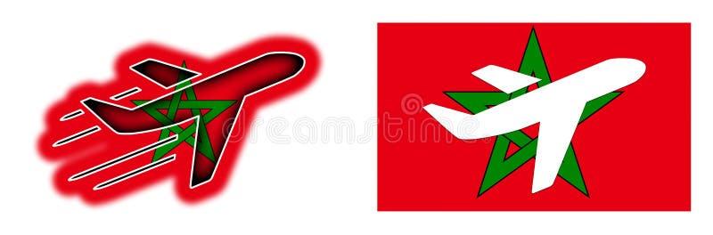 国家旗子-被隔绝的飞机-摩洛哥 皇族释放例证
