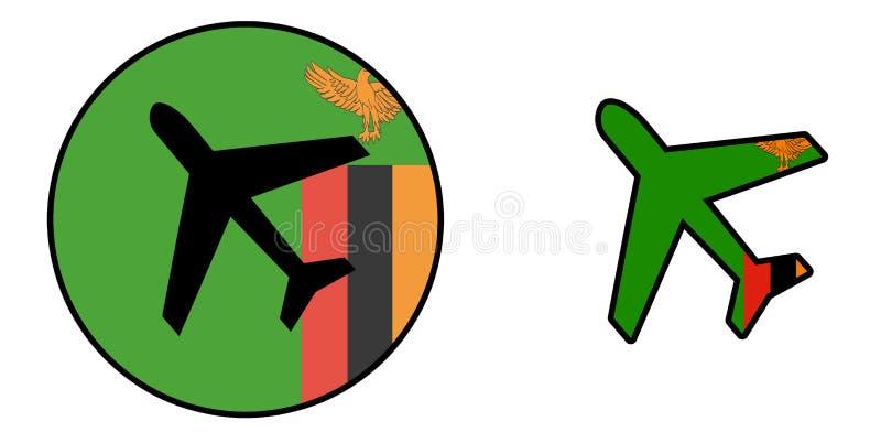 国家旗子-被隔绝的飞机-赞比亚 皇族释放例证