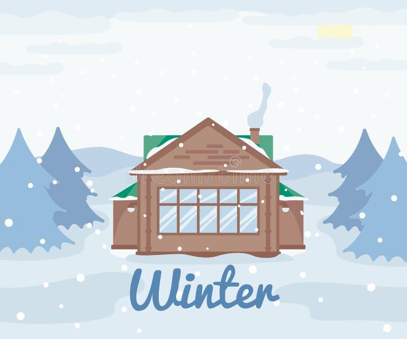 国家村庄在冬天,木房子在森林,多雪的风景云杉的树,冬天室外视图,乡下自然里 向量例证