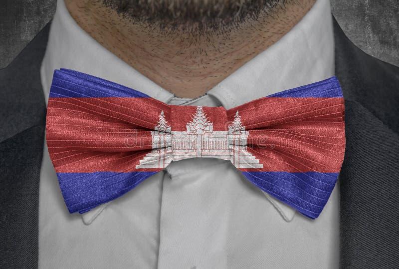 国家柬埔寨的旗子国民bowtie商人衣服的 向量例证