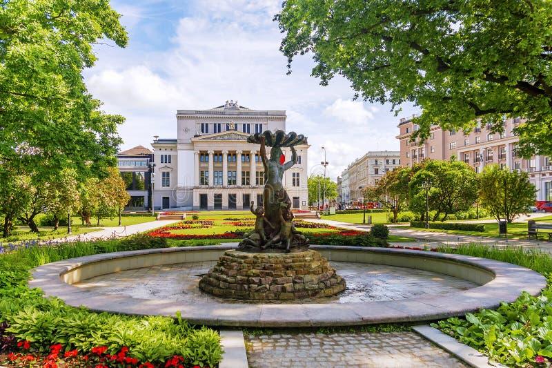 国家歌剧院在里加,拉脱维亚 图库摄影