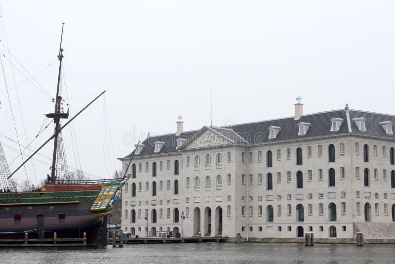 国家海洋博物馆展出阿姆斯特丹Scheepvaart博物馆 图库摄影