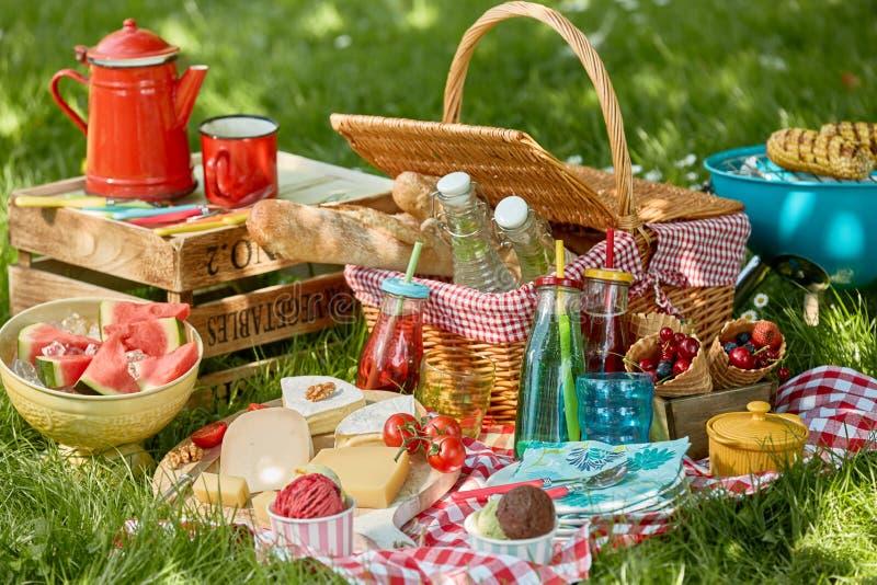 国家烤肉或野餐在春天草甸 库存照片