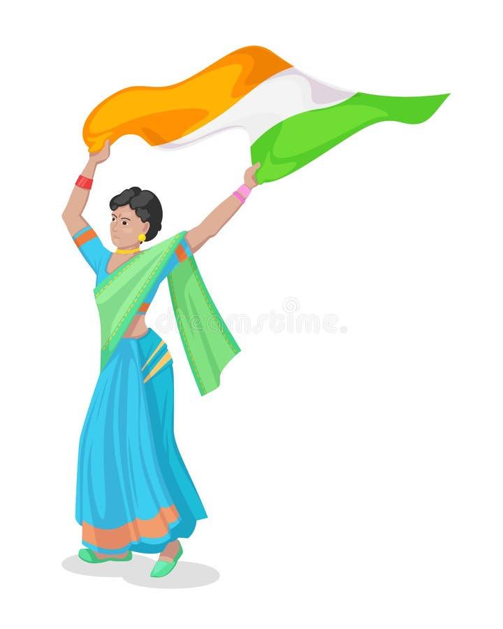 国家美国独立日的印度 传统莎丽服的女孩 库存例证