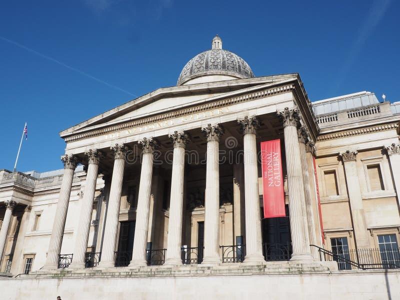 国家美术馆特拉法加广场伦敦 免版税库存图片