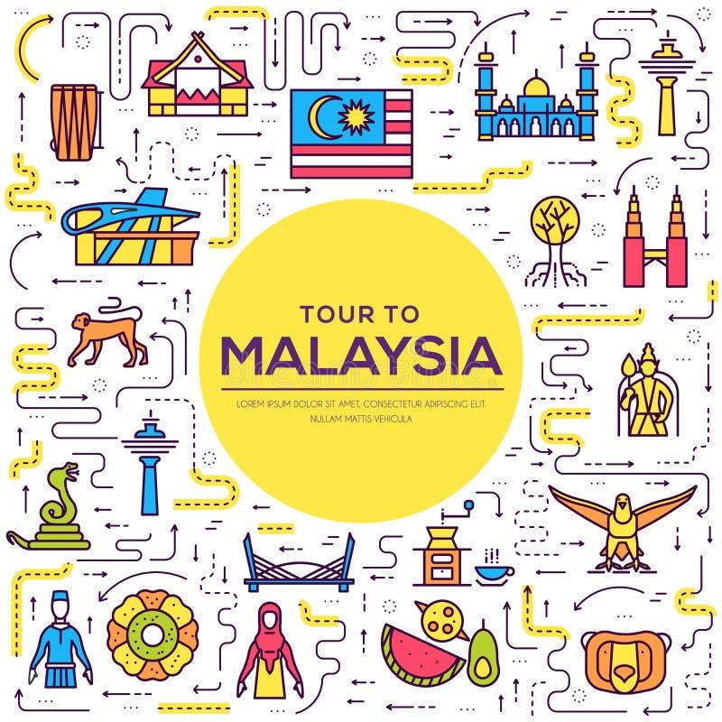 国家马来西亚地方和特点的旅行假期 套建筑学,时尚,人们,项目,纪念碑背景 皇族释放例证