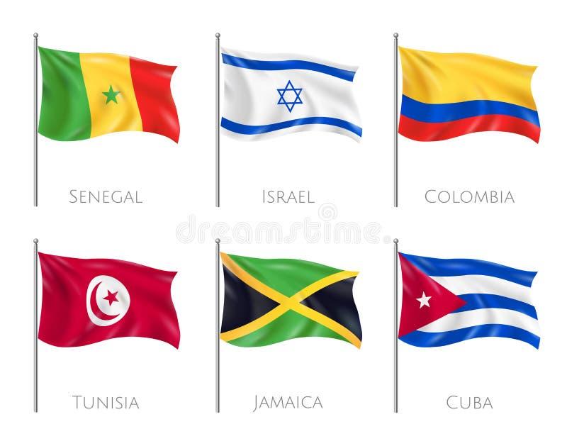 国旗现实集合 向量例证