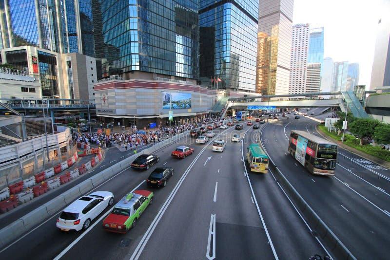 国民教育在香港提高狂怒 库存照片