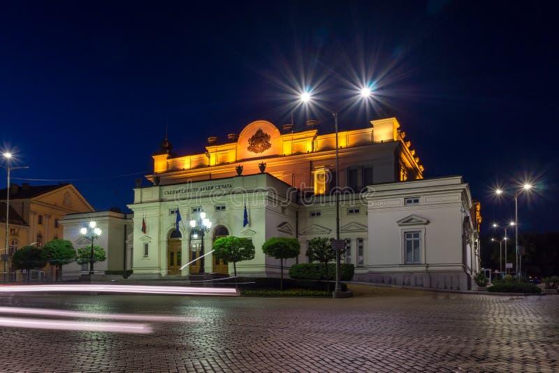 国民议会惊人的夜照片在市索非亚 库存照片
