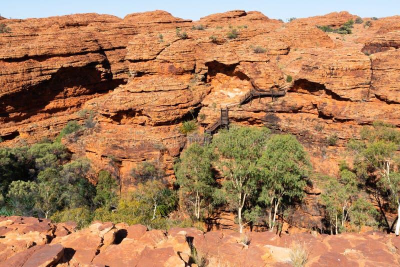 国王与红砂岩圆顶和楼梯路的峡谷风景在外缘步行期间在澳洲内地澳大利亚 库存图片