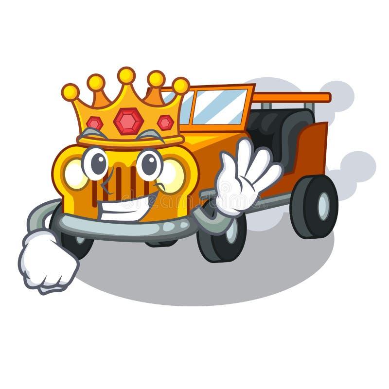 国王吉普在前面赦免的动画片汽车 向量例证