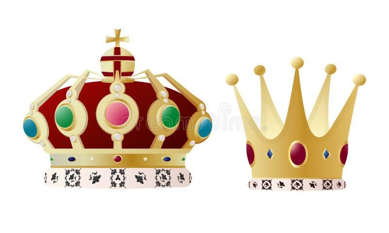 国王和女王/王后冠 免版税库存照片