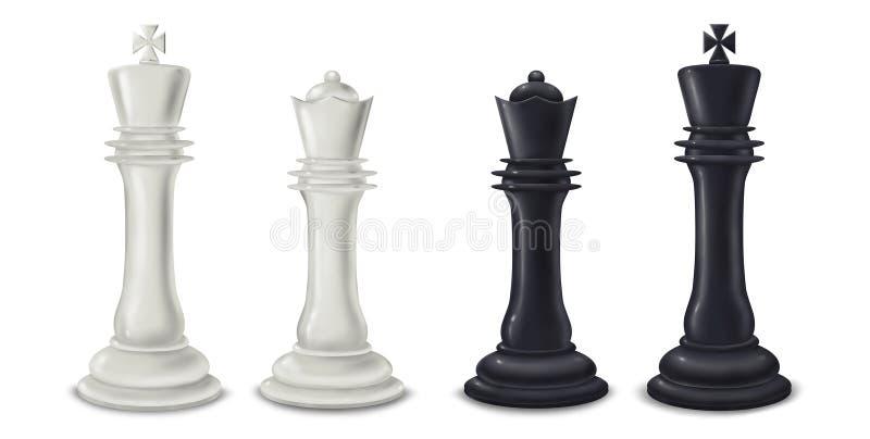 国王和女王/王后棋子-数字式例证 图库摄影