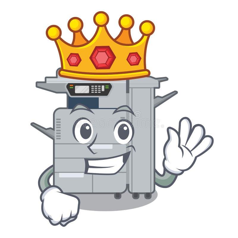 国王在字符椅子旁边的影印机机器 向量例证
