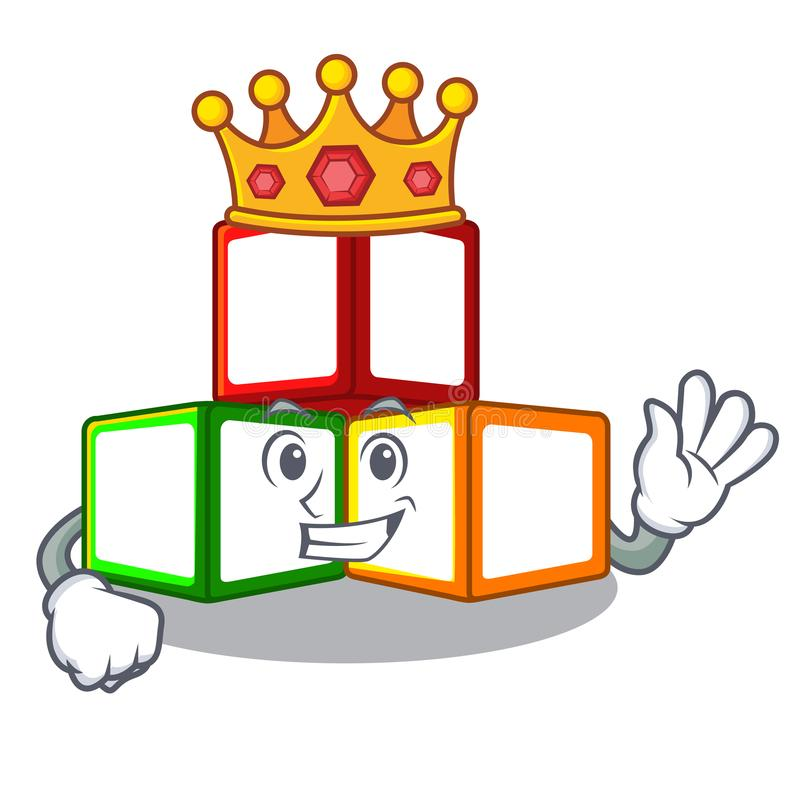 国王在立方体箱子吉祥人的玩具块 皇族释放例证