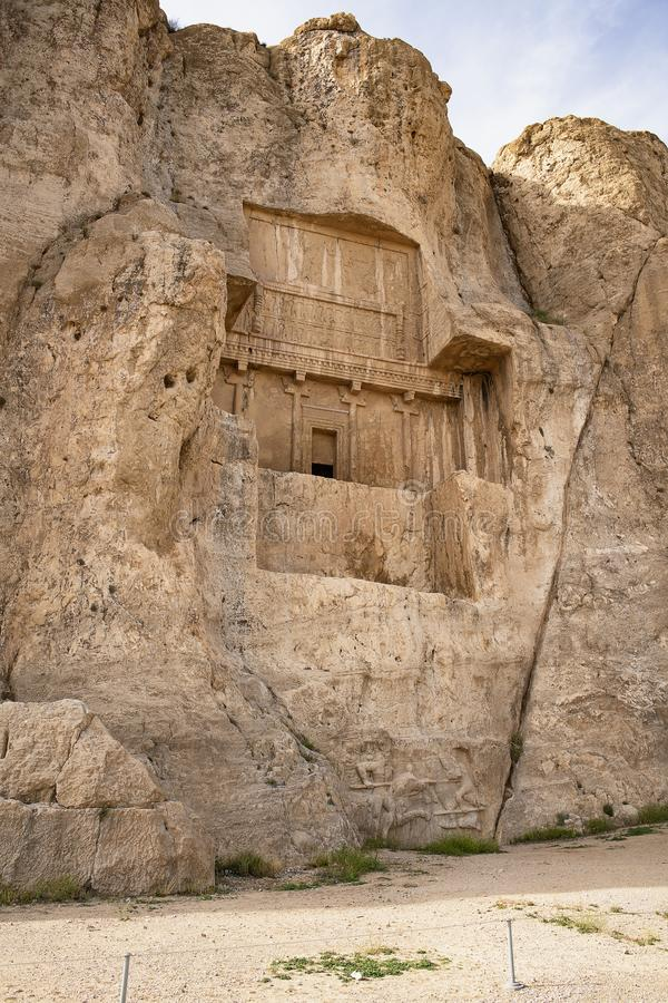 国王坟茔在波斯波利斯市,古老波斯,伊朗 联合国科教文组织遗产 库存照片