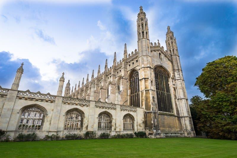 国王学院剑桥,从前面的英国claudy天 免版税库存照片