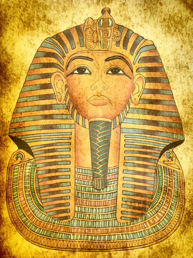 国王屏蔽纸莎草tutankhamen 库存图片