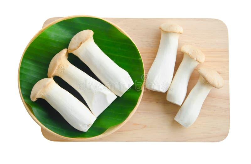 国王蚝蘑和叶子在木背景 免版税库存照片