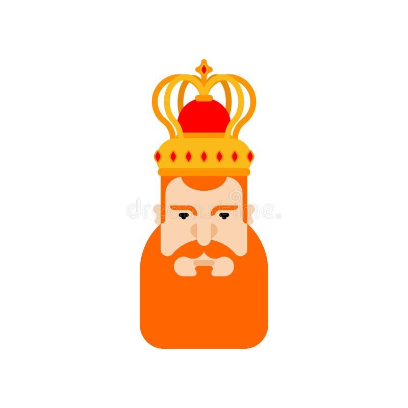 国王面孔Redbeard 皇家人 披风和冠 国君汽车 向量例证