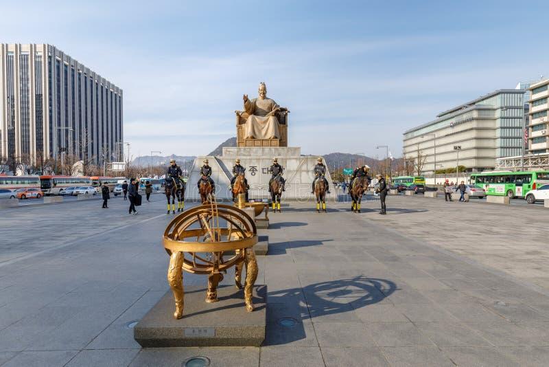 国王Sejong的雕象Gwanghwamun广场的 库存照片