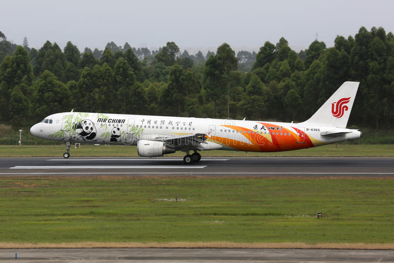 国航空中客车A321飞机成都机场 库存图片
