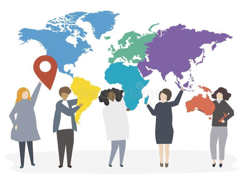 国际不同的人民的例证 向量例证