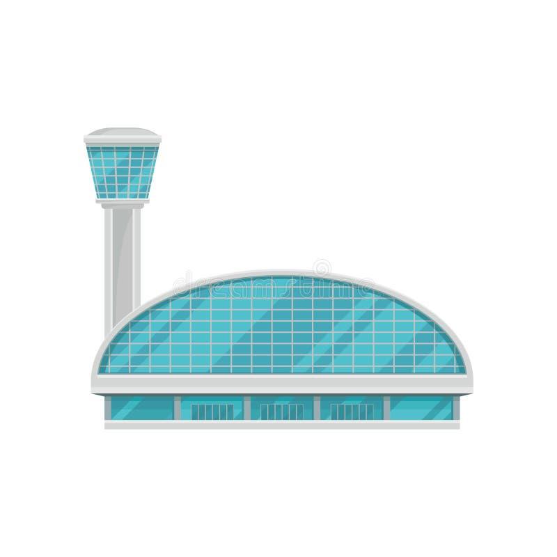 国际乘客机场机场主楼有高交通控制塔的 现代的结构 平的传染媒介 库存例证