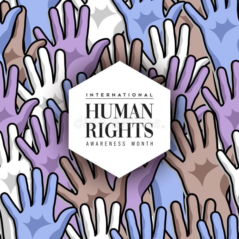 国际人权月不同的手卡片 皇族释放例证