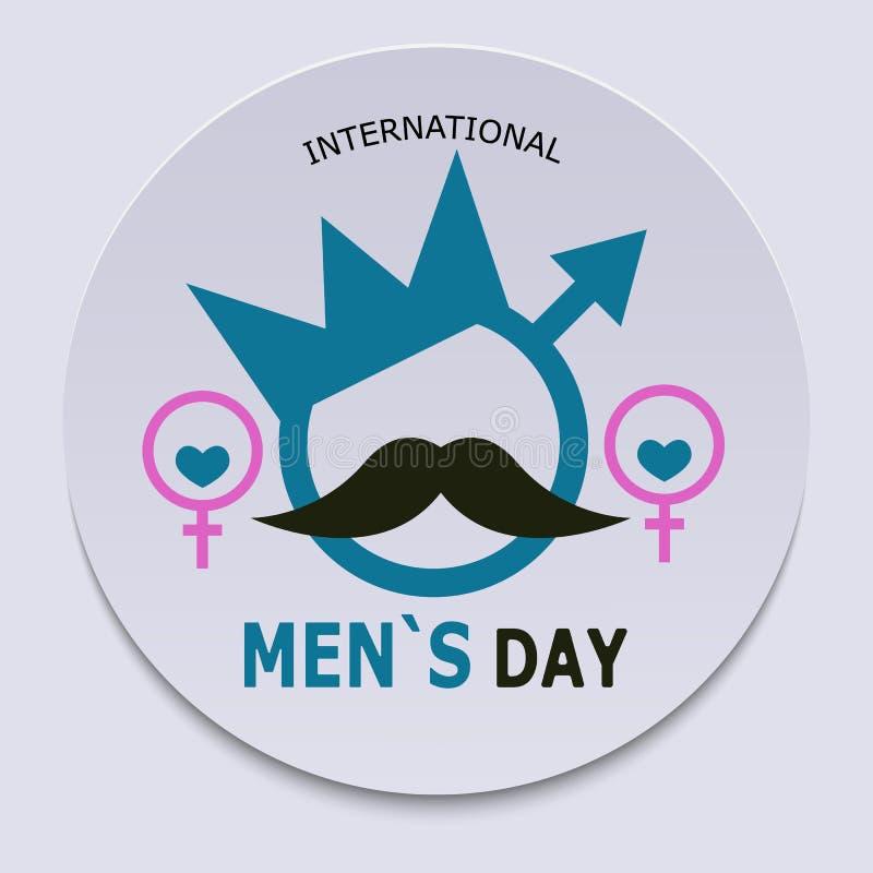 国际人` s天 以一个人的形式标志的横幅有女性标志和眼睛的围拢的冠、髭 Vec 皇族释放例证