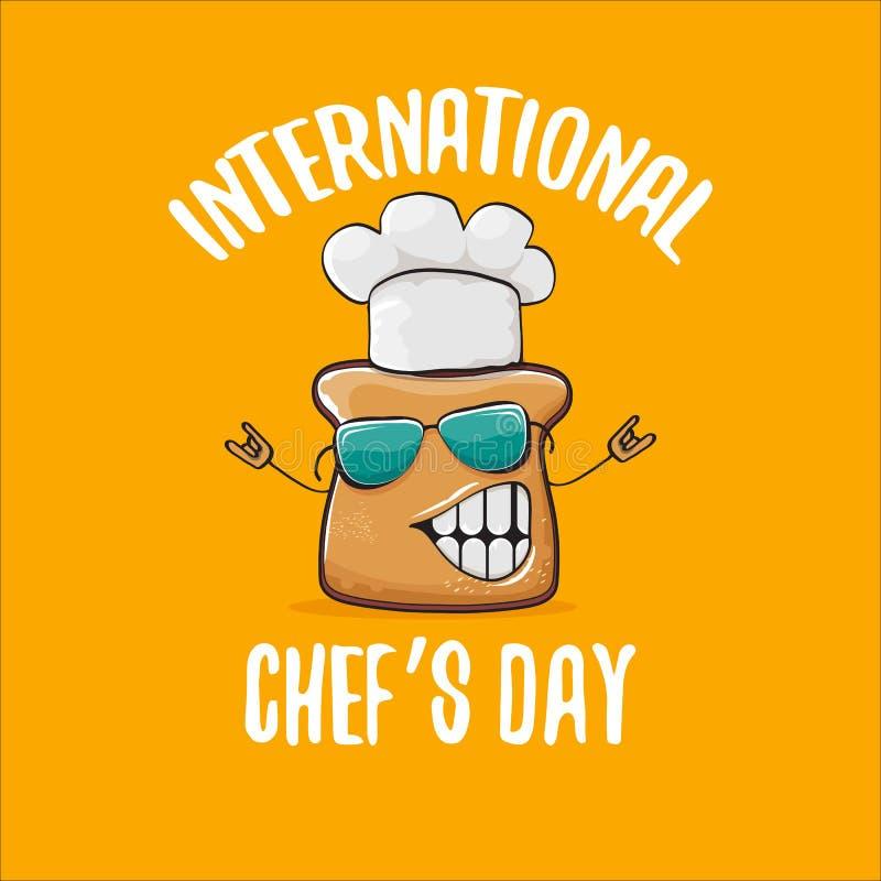 国际厨师天贺卡或横幅用传染媒介滑稽的动画片厨师面包与在桔子隔绝的cheaf帽子 库存例证