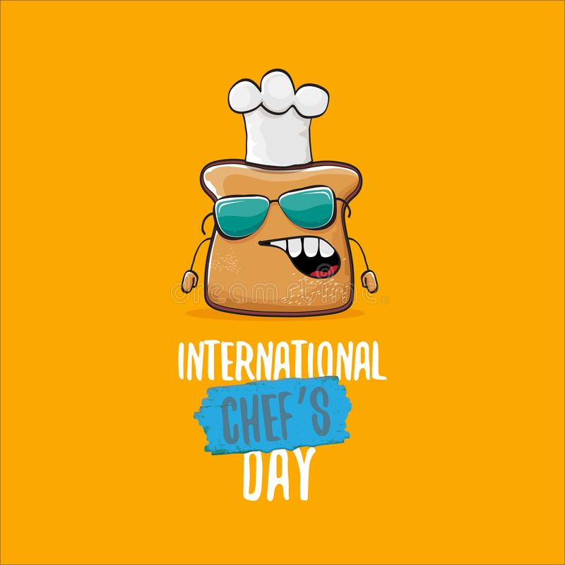 国际厨师天贺卡或横幅用传染媒介滑稽的动画片厨师面包与在桔子隔绝的cheaf帽子 向量例证