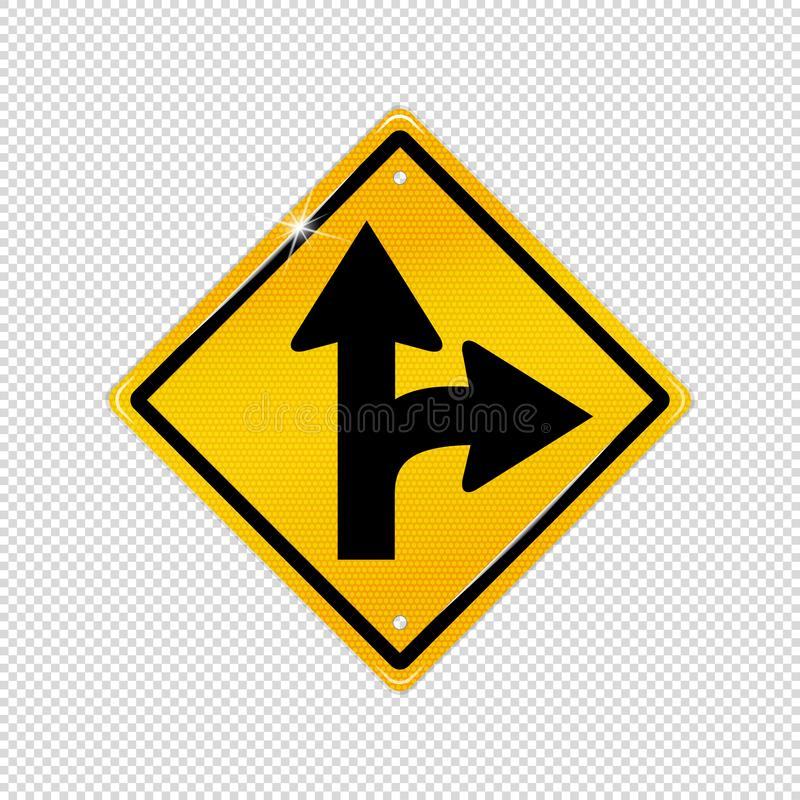 国际向右转的分裂标志-构造了黄色警告象-在透明背景隔绝的传染媒介例证 向量例证
